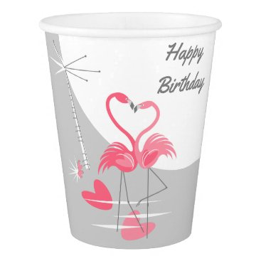 Beach Themed Flamingo Love Large Moon Birthday paper cup