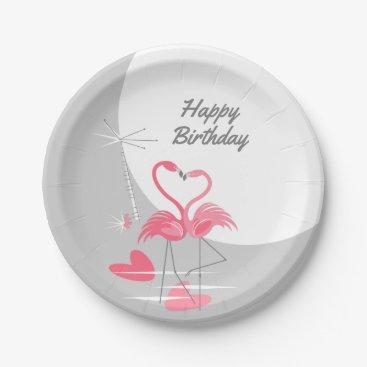 Beach Themed Flamingo Love Large Moon Birthday paper plates
