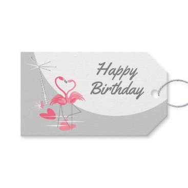 Beach Themed Flamingo Love Large Moon Birthday text landscape Gift Tags
