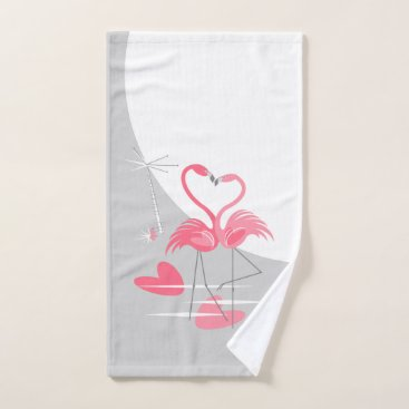Beach Themed Flamingo Love Large Moon hand towel vertical