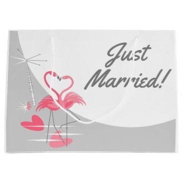 Beach Themed Flamingo Love Large Moon Just Married! large Large Gift Bag