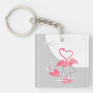 Flamingo Love Large Moon keychain acrylic square