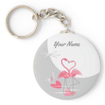 Beach Themed Flamingo Love Large Moon Name keychain basic