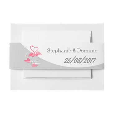 Beach Themed Flamingo Love Large Moon Names Date landscape Invitation Belly Band