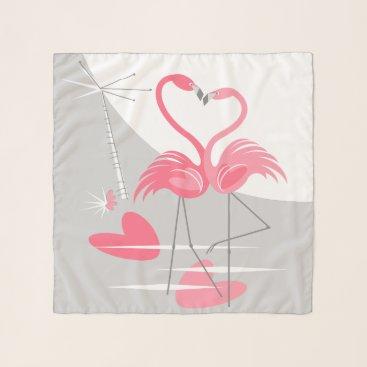 Beach Themed Flamingo Love Large Moon scarf chiffon