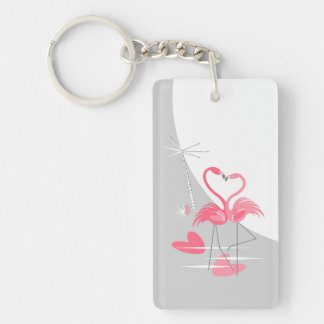 Flamingo Love Large Moon Text acrylic rectangle Keychain