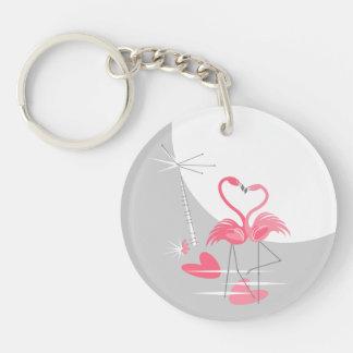 Flamingo Love Large Moon Text acrylic round Keychain