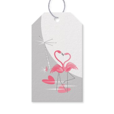 Beach Themed Flamingo Love Large Moon text gift tags