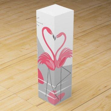 Beach Themed Flamingo Love Large Moon text wine box