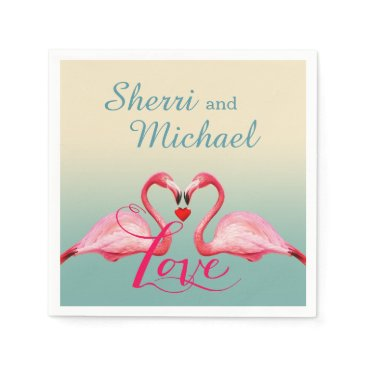 Beach Themed Flamingo Love | mint blue Paper Napkin