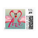 Flamingo Love | mint blue Postage Stamp