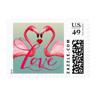 Flamingo Love | mint blue Postage Stamp