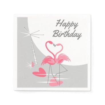 Beach Themed Flamingo Love Moon Birthday paper napkins