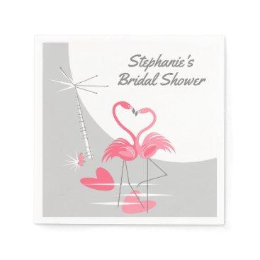 Beach Themed Flamingo Love Moon Bridal Shower paper napkins