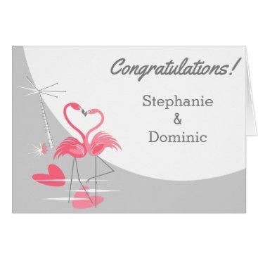 Beach Themed Flamingo Love Moon Congratulations Names Card