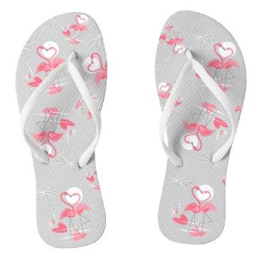 Beach Themed Flamingo Love Multi flip flops