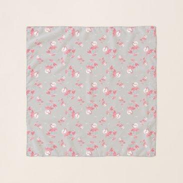Beach Themed Flamingo Love Multi scarf chiffon