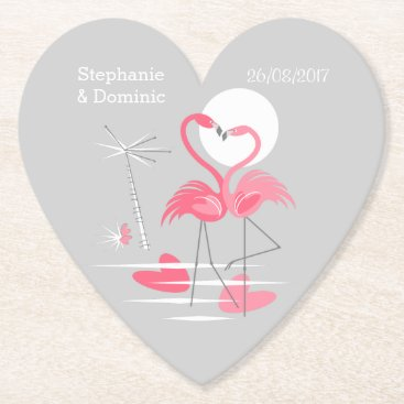 Beach Themed Flamingo Love Names Date coaster heart