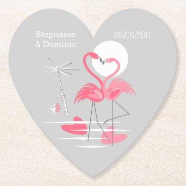 Beach Themed Flamingo Love Names Date coaster heart