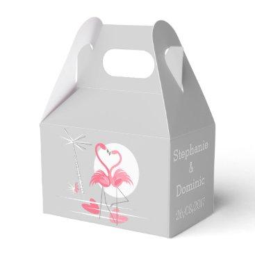 Beach Themed Flamingo Love Names Date favor box gable