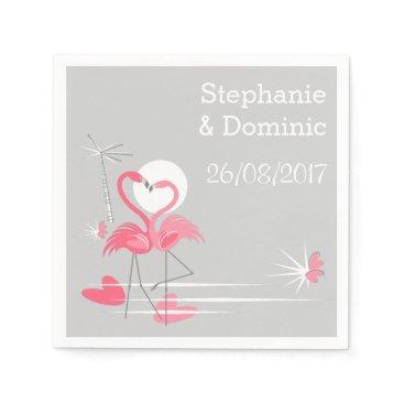 Flamingo Love Names Date paper napkins