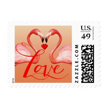 Beach Themed Flamingo Love | peach Postage