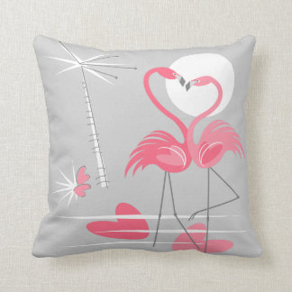 Flamingo Love pink back throw pillow square