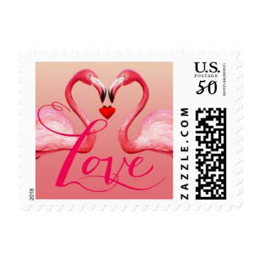Valentines Themed Flamingo Love | pink Postage