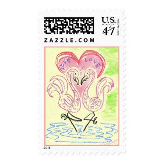 Flamingo Love Postage Stamp