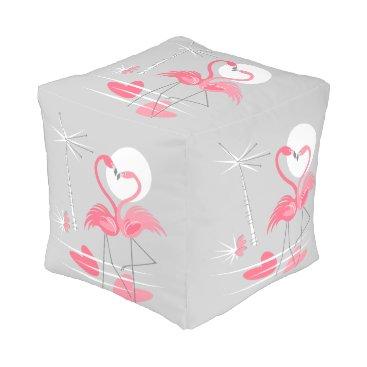 Flamingo Love pouf cube
