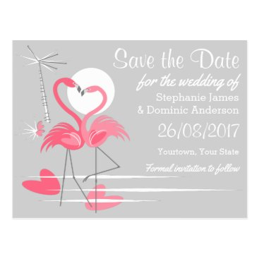 Beach Themed Flamingo Love Save the Date postcard landscape