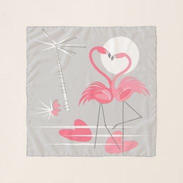 Beach Themed Flamingo Love scarf chiffon