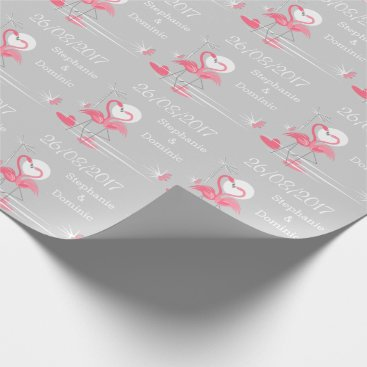Beach Themed Flamingo Love Side Date Names wrapping paper