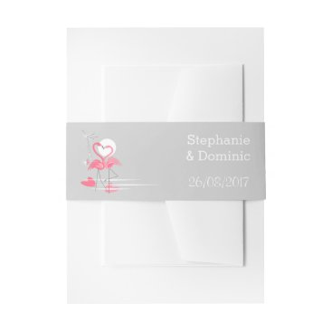 Beach Themed Flamingo Love Side Names Date belly band portrait