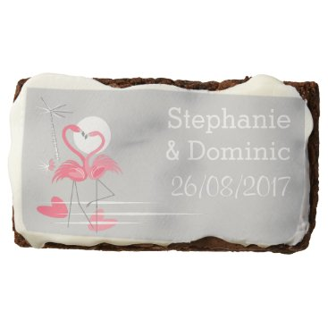 Beach Themed Flamingo Love Side Names Date brownie