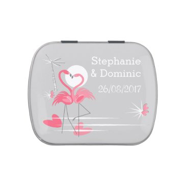 Beach Themed Flamingo Love Side Names Date candy tin