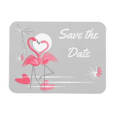 Beach Themed Flamingo Love Side Save the Date flexible magnet