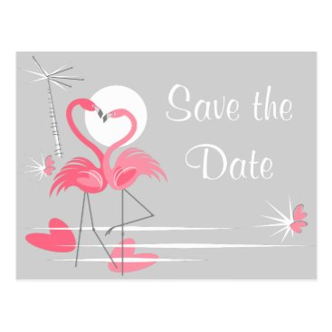 Beach Themed Flamingo Love Side Save the Date grey landscape Postcard