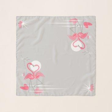 Beach Themed Flamingo Love Side scarf chiffon