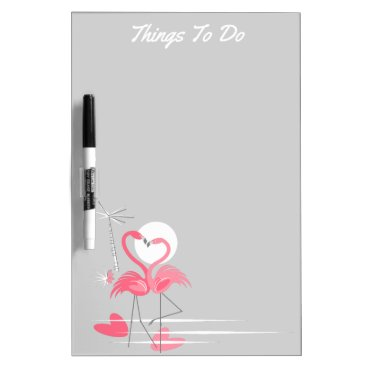 Beach Themed Flamingo Love Side Text dry erase board portrait