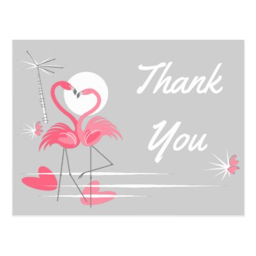 Beach Themed Flamingo Love Side Thank You postcard landscape