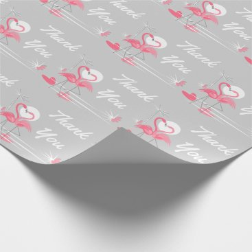 Beach Themed Flamingo Love Side Thank You wrapping paper