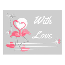 Flamingo Love Side With Love postcard landscape