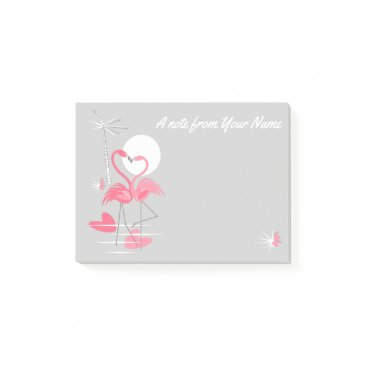 Flamingo Love Slim Text post-it notes