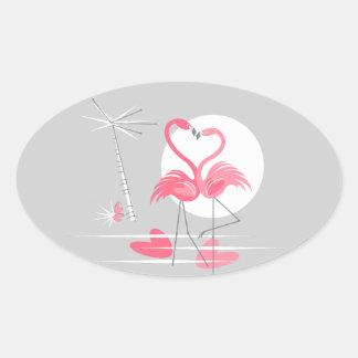 Flamingo Love sticker oval