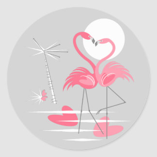 Flamingo Love sticker round