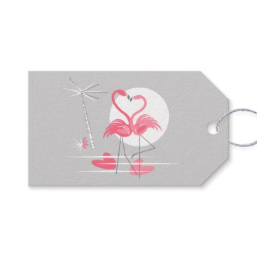 Beach Themed Flamingo Love text back grey landscape Gift Tags
