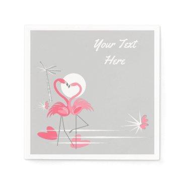 Beach Themed Flamingo Love Text paper napkins