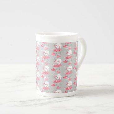 Beach Themed Flamingo Love Tiled mug bone china