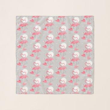 Beach Themed Flamingo Love Tiled scarf chiffon